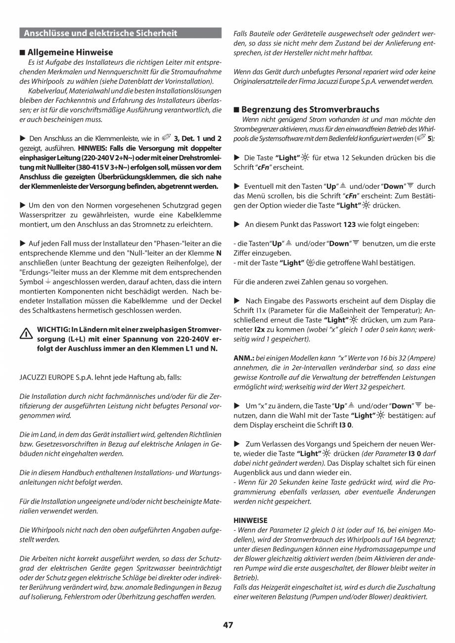 Pagina 47 - Manual de instalare pentru cada de baie cu hidromasaj JACUZZI SANTORINI PRO, SANTORINI...