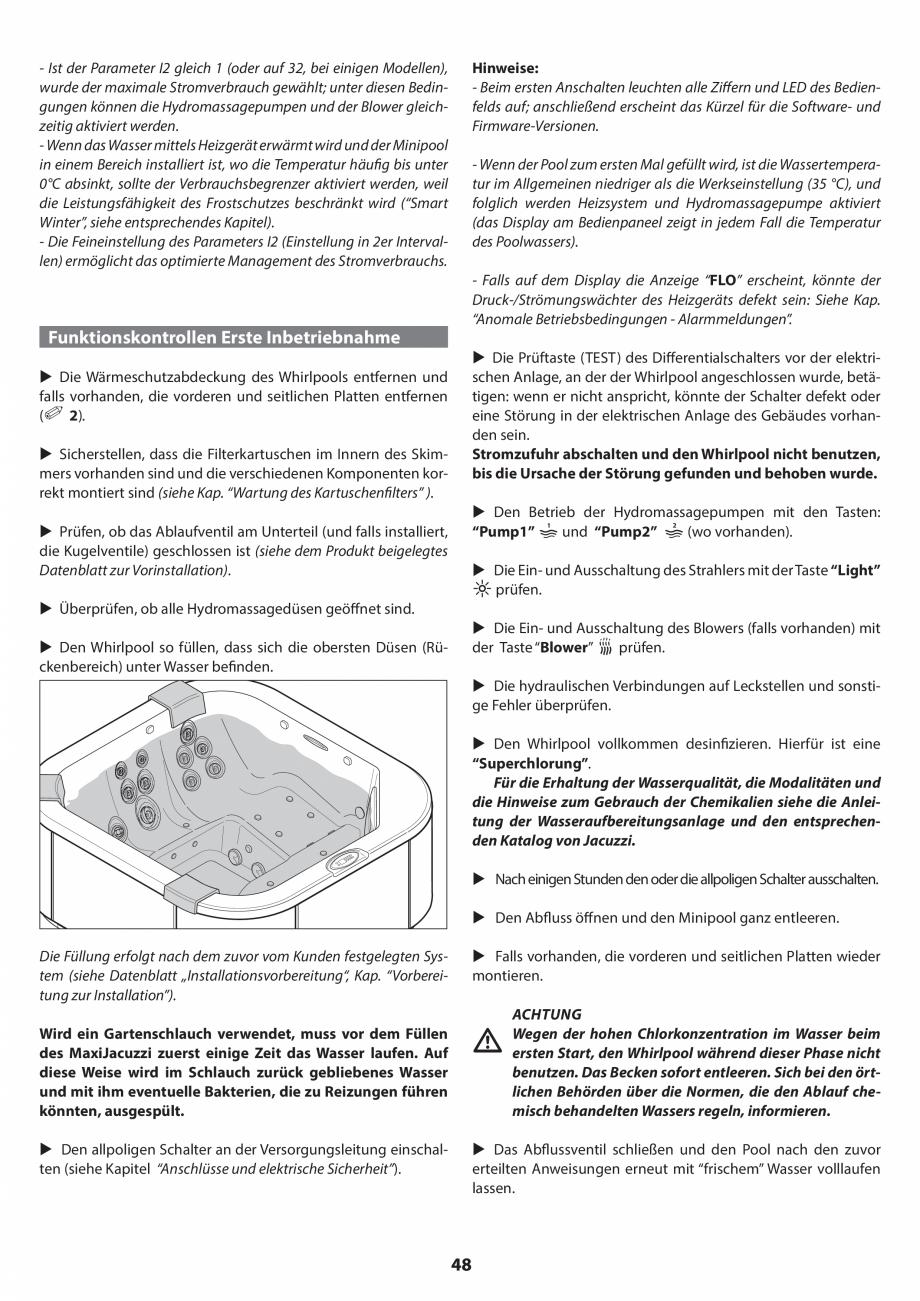 Pagina 48 - Manual de instalare pentru cada de baie cu hidromasaj JACUZZI SANTORINI PRO, SANTORINI...