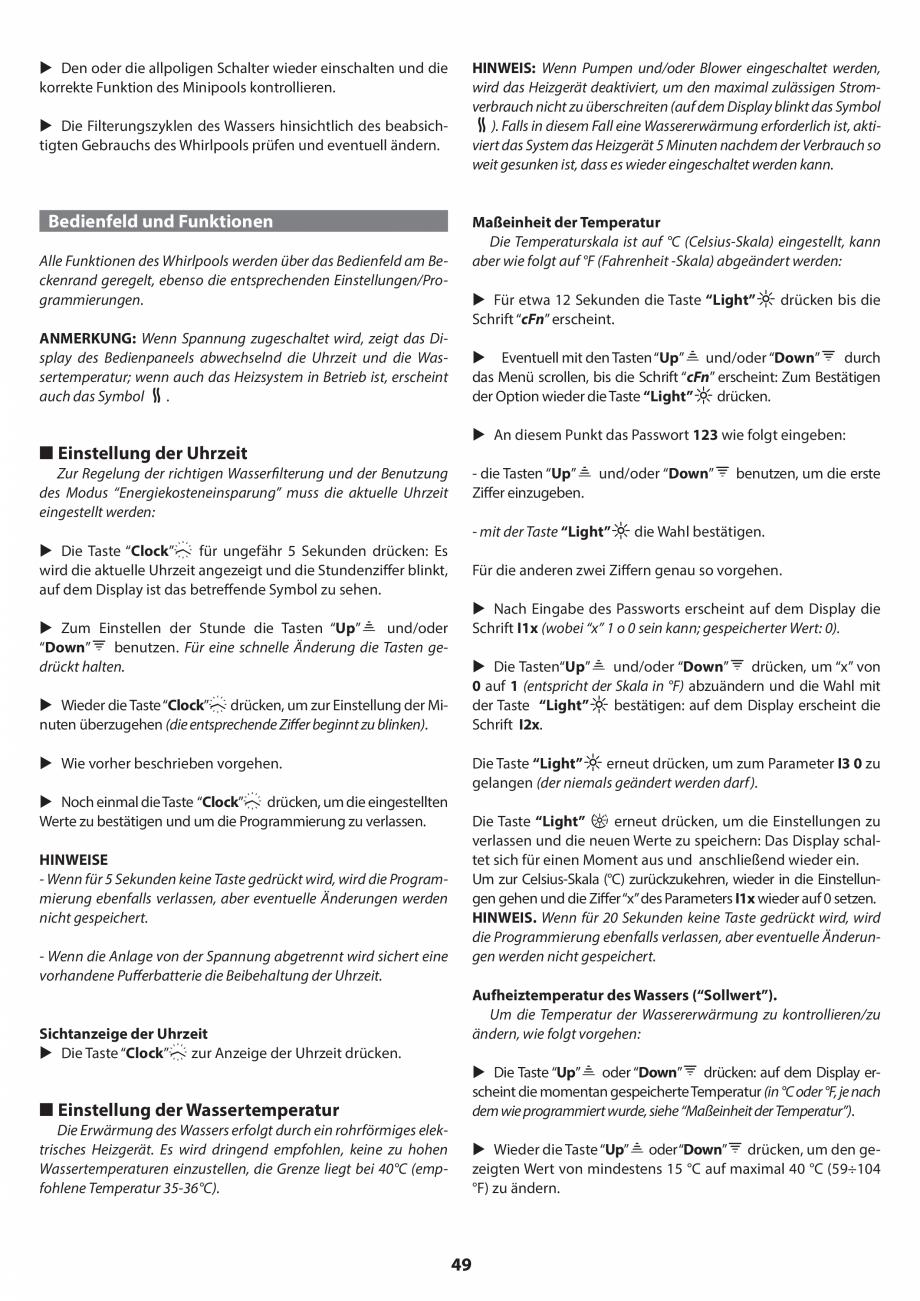 Pagina 49 - Manual de instalare pentru cada de baie cu hidromasaj JACUZZI SANTORINI PRO, SANTORINI...