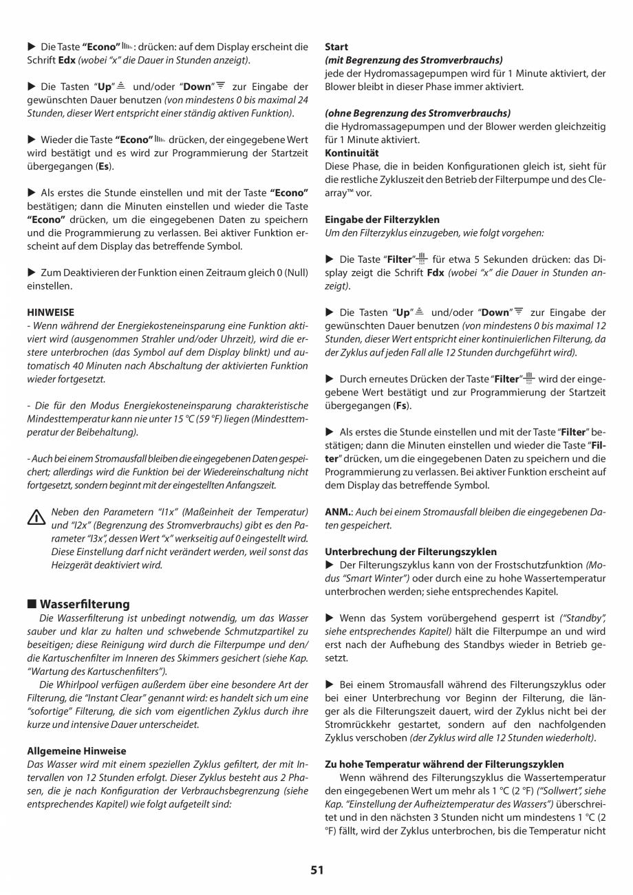 Pagina 51 - Manual de instalare pentru cada de baie cu hidromasaj JACUZZI SANTORINI PRO, SANTORINI...