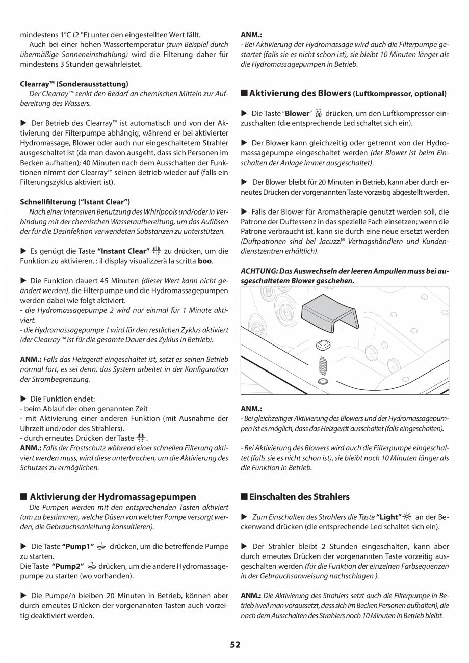 Pagina 52 - Manual de instalare pentru cada de baie cu hidromasaj JACUZZI SANTORINI PRO, SANTORINI...
