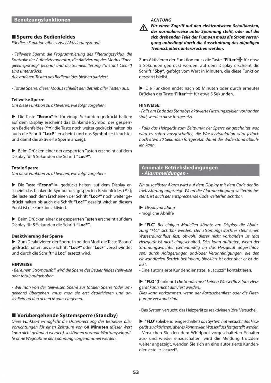 Pagina 53 - Manual de instalare pentru cada de baie cu hidromasaj JACUZZI SANTORINI PRO, SANTORINI...