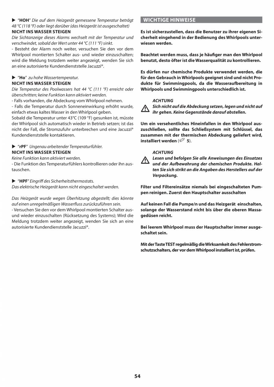 Pagina 54 - Manual de instalare pentru cada de baie cu hidromasaj JACUZZI SANTORINI PRO, SANTORINI...