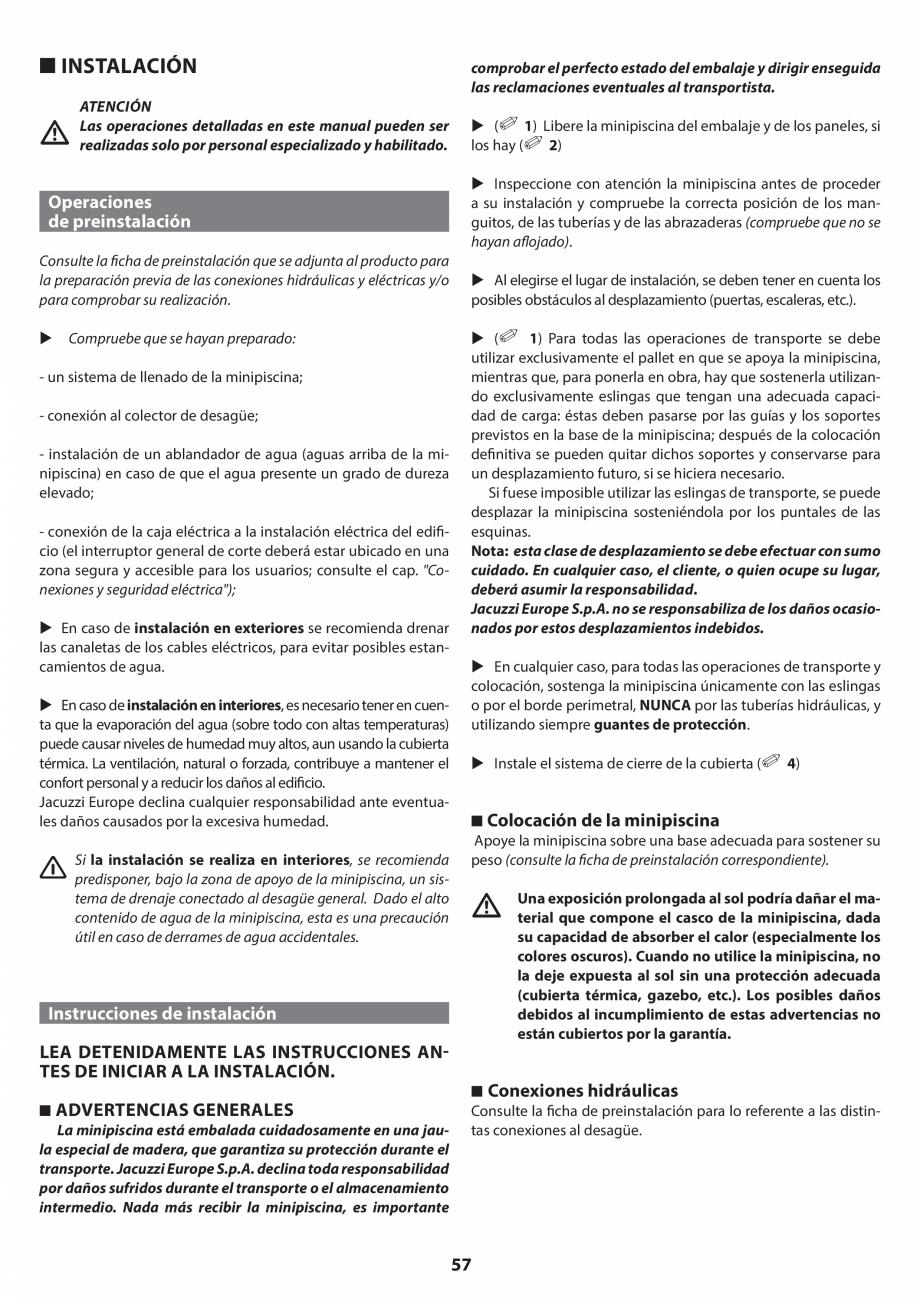 Pagina 57 - Manual de instalare pentru cada de baie cu hidromasaj JACUZZI SANTORINI PRO, SANTORINI...