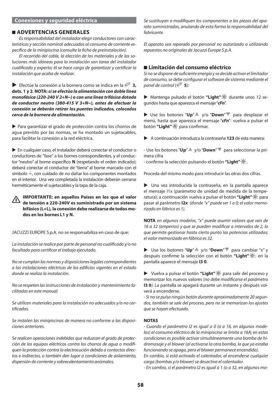 Pagina 58 - Manual de instalare pentru cada de baie cu hidromasaj JACUZZI SANTORINI PRO, SANTORINI...