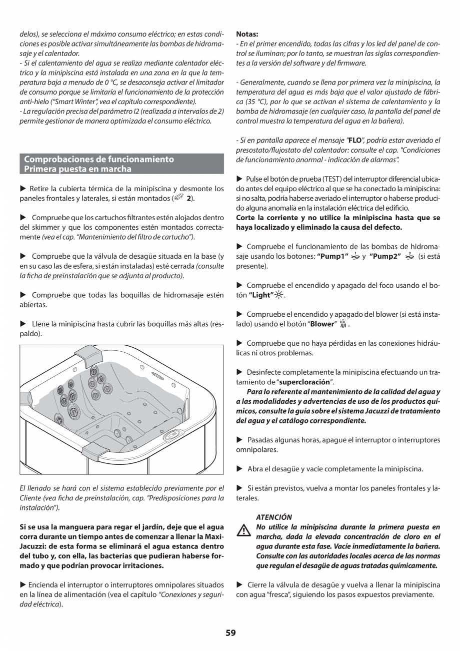Pagina 59 - Manual de instalare pentru cada de baie cu hidromasaj JACUZZI SANTORINI PRO, SANTORINI...