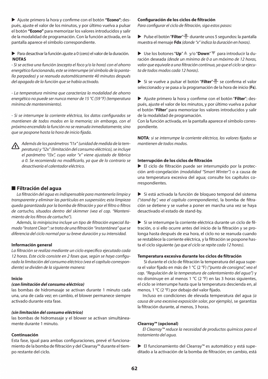 Pagina 62 - Manual de instalare pentru cada de baie cu hidromasaj JACUZZI SANTORINI PRO, SANTORINI...