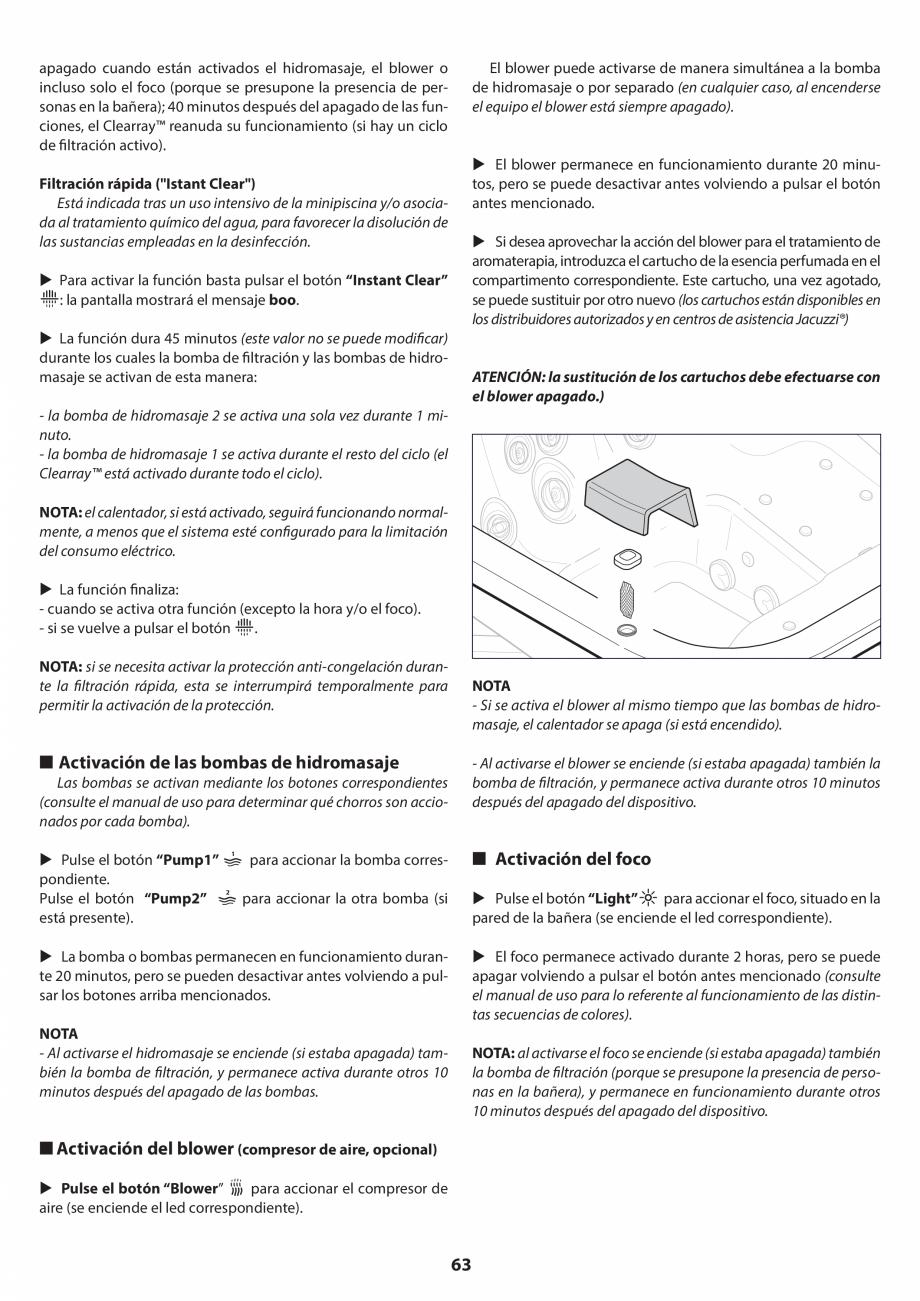 Pagina 63 - Manual de instalare pentru cada de baie cu hidromasaj JACUZZI SANTORINI PRO, SANTORINI...