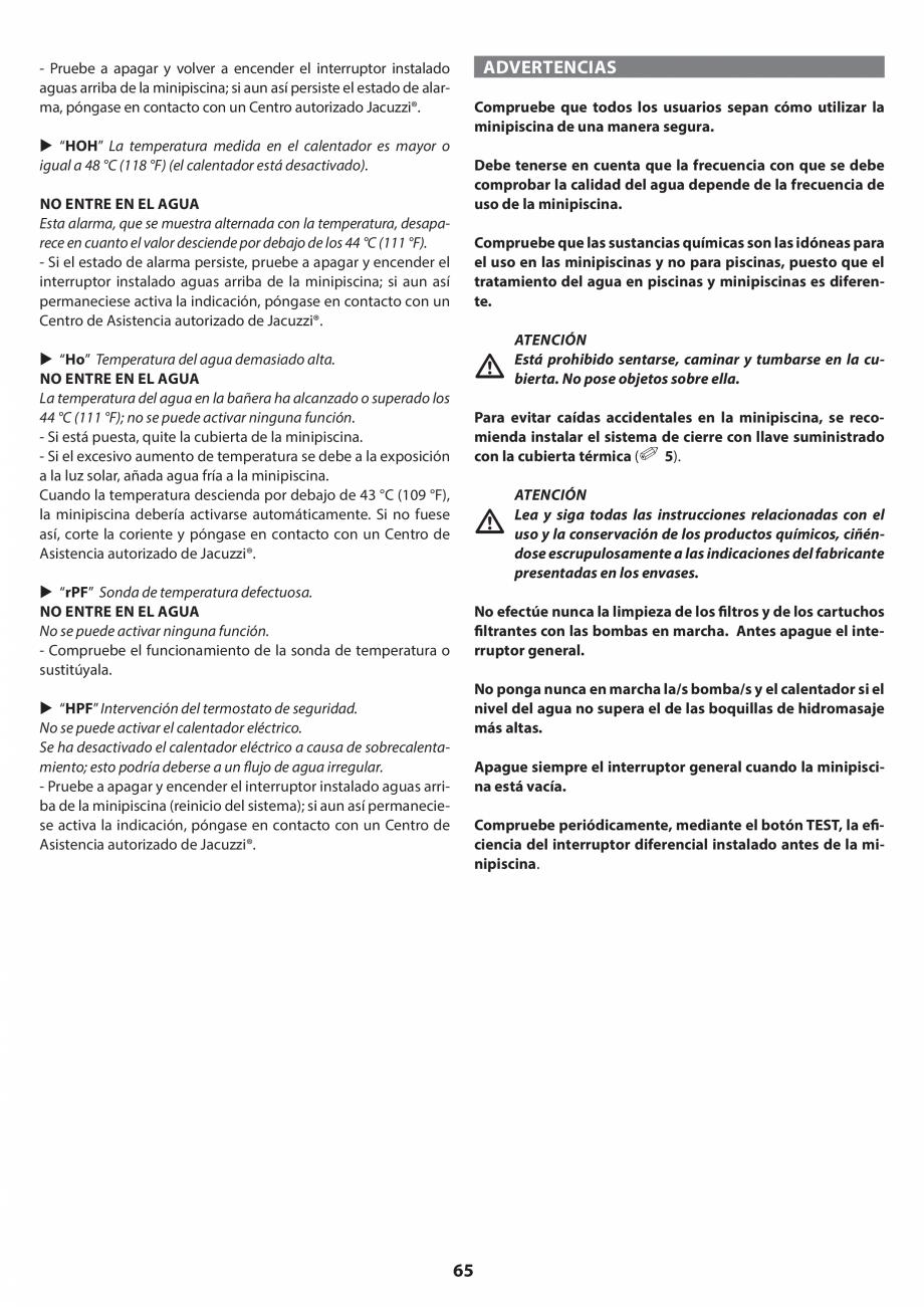 Pagina 65 - Manual de instalare pentru cada de baie cu hidromasaj JACUZZI SANTORINI PRO, SANTORINI...