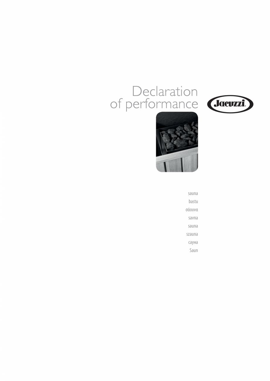 Pagina 1 - Declaratie de performanta pentru sauna JACUZZI Certificare produs Engleza, Bulgara, Ceha,...