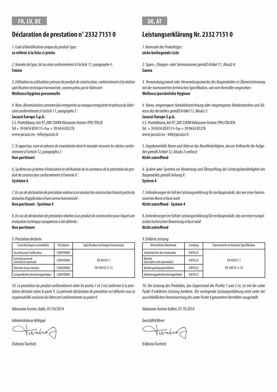 Pagina 3 - Declaratie de performanta pentru sauna JACUZZI Certificare produs Engleza, Bulgara, Ceha,...