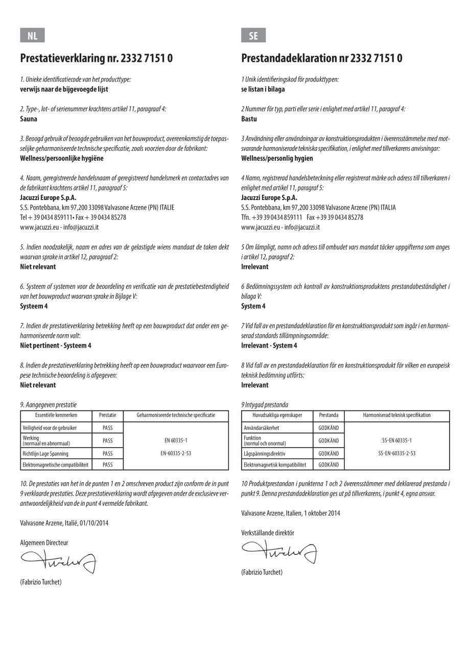Pagina 5 - Declaratie de performanta pentru sauna JACUZZI Certificare produs Engleza, Bulgara, Ceha,...