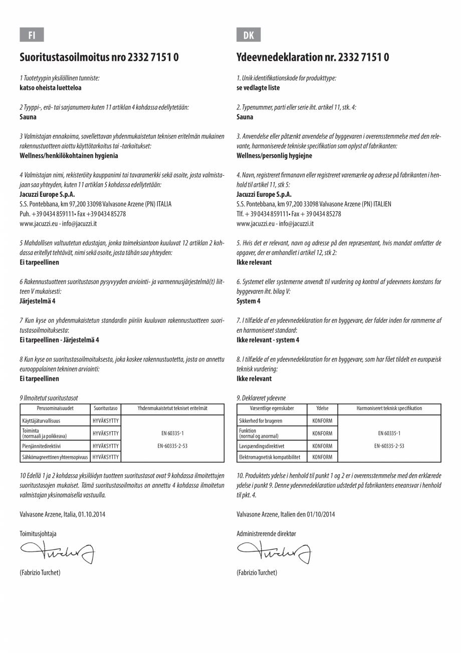 Pagina 6 - Declaratie de performanta pentru sauna JACUZZI Certificare produs Engleza, Bulgara, Ceha,...