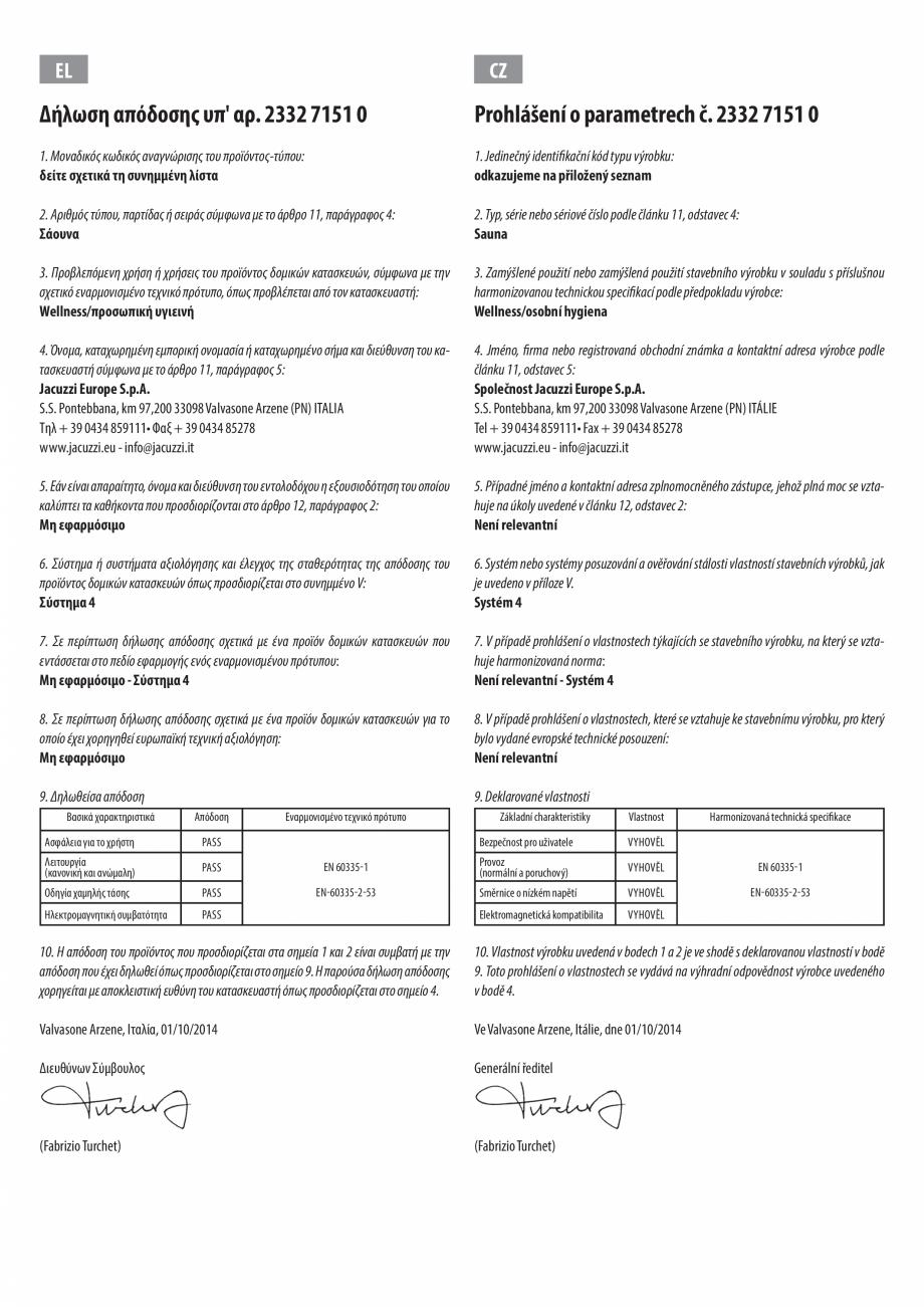 Pagina 7 - Declaratie de performanta pentru sauna JACUZZI Certificare produs Engleza, Bulgara, Ceha,...