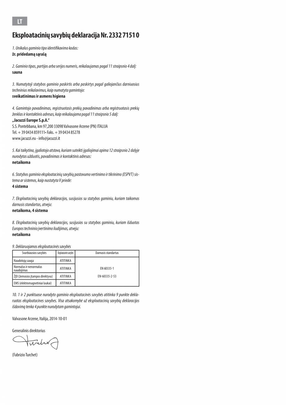 Pagina 12 - Declaratie de performanta pentru sauna JACUZZI Certificare produs Engleza, Bulgara, Ceha...