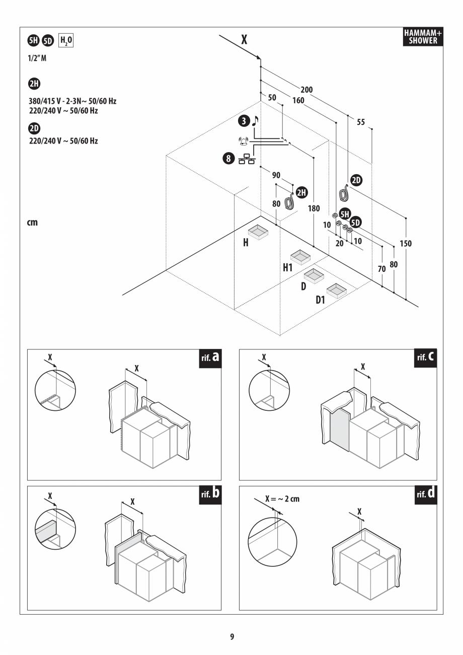 Pagina 9 - Instructiuni de preinstalare pentru hammam + dus JACUZZI SASHA, SASHA 2.0 Instructiuni...