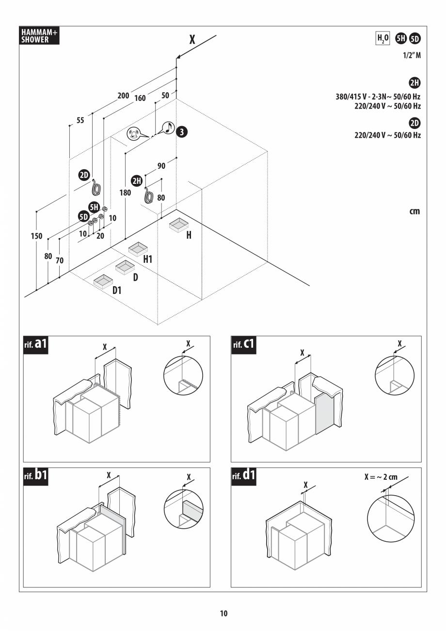 Pagina 10 - Instructiuni de preinstalare pentru hammam + dus JACUZZI SASHA, SASHA 2.0 Instructiuni...