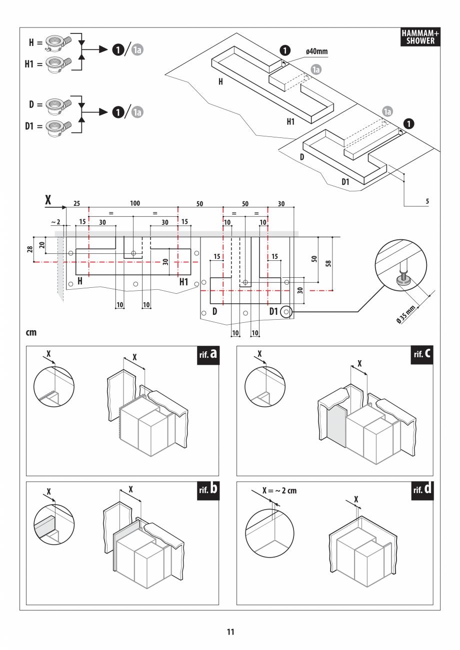 Pagina 11 - Instructiuni de preinstalare pentru hammam + dus JACUZZI SASHA, SASHA 2.0 Instructiuni...