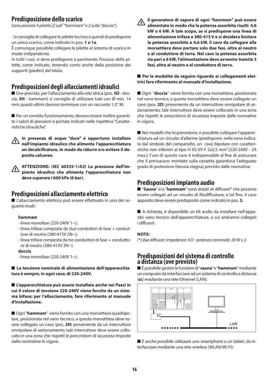 Pagina 16 - Instructiuni de preinstalare pentru hammam + dus JACUZZI SASHA, SASHA 2.0 Instructiuni...