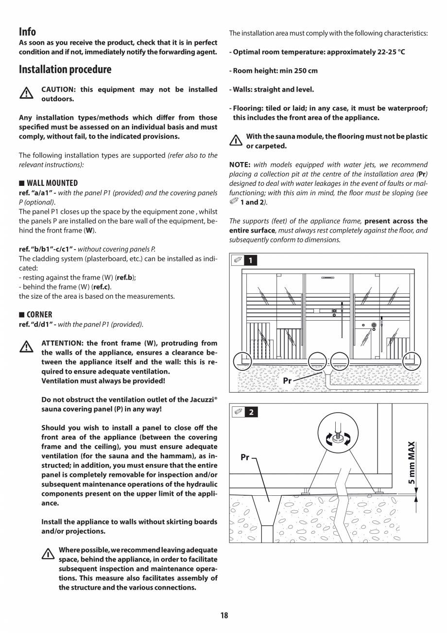 Pagina 18 - Instructiuni de preinstalare pentru hammam + dus JACUZZI SASHA, SASHA 2.0 Instructiuni...