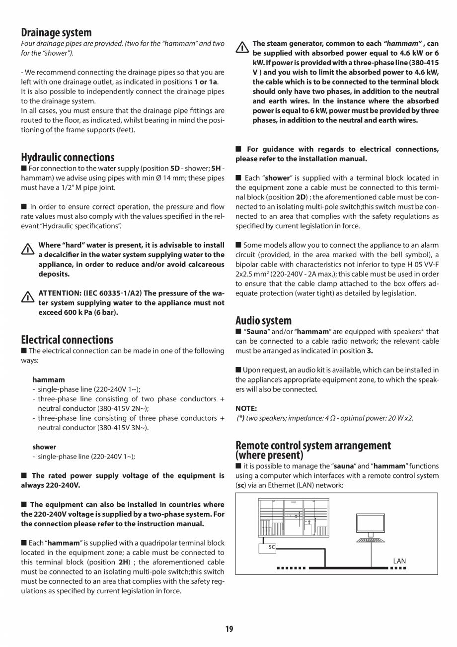 Pagina 19 - Instructiuni de preinstalare pentru hammam + dus JACUZZI SASHA, SASHA 2.0 Instructiuni...