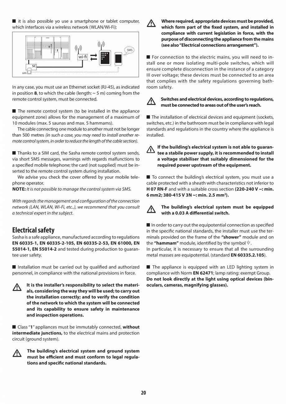 Pagina 20 - Instructiuni de preinstalare pentru hammam + dus JACUZZI SASHA, SASHA 2.0 Instructiuni...