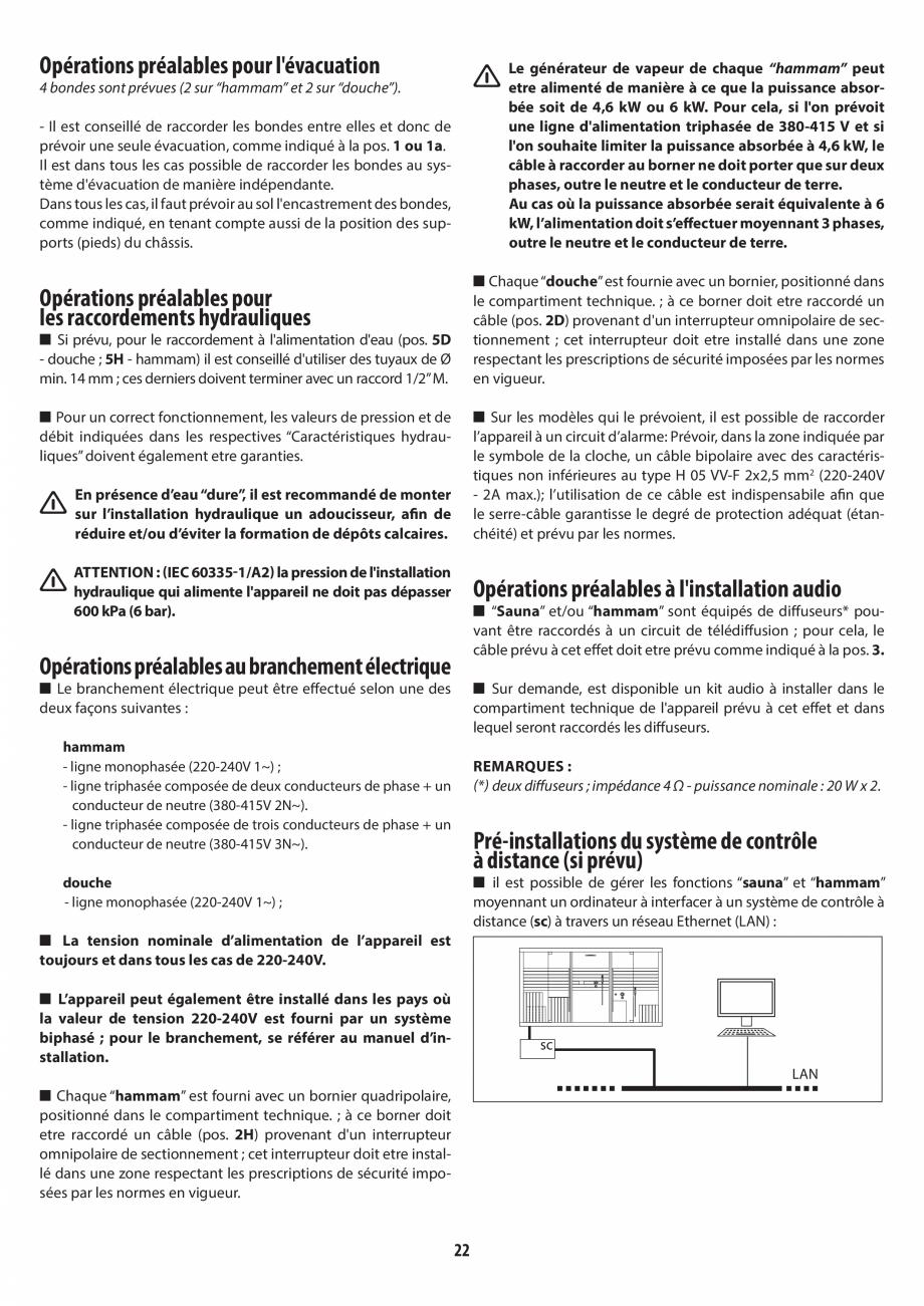 Pagina 22 - Instructiuni de preinstalare pentru hammam + dus JACUZZI SASHA, SASHA 2.0 Instructiuni...