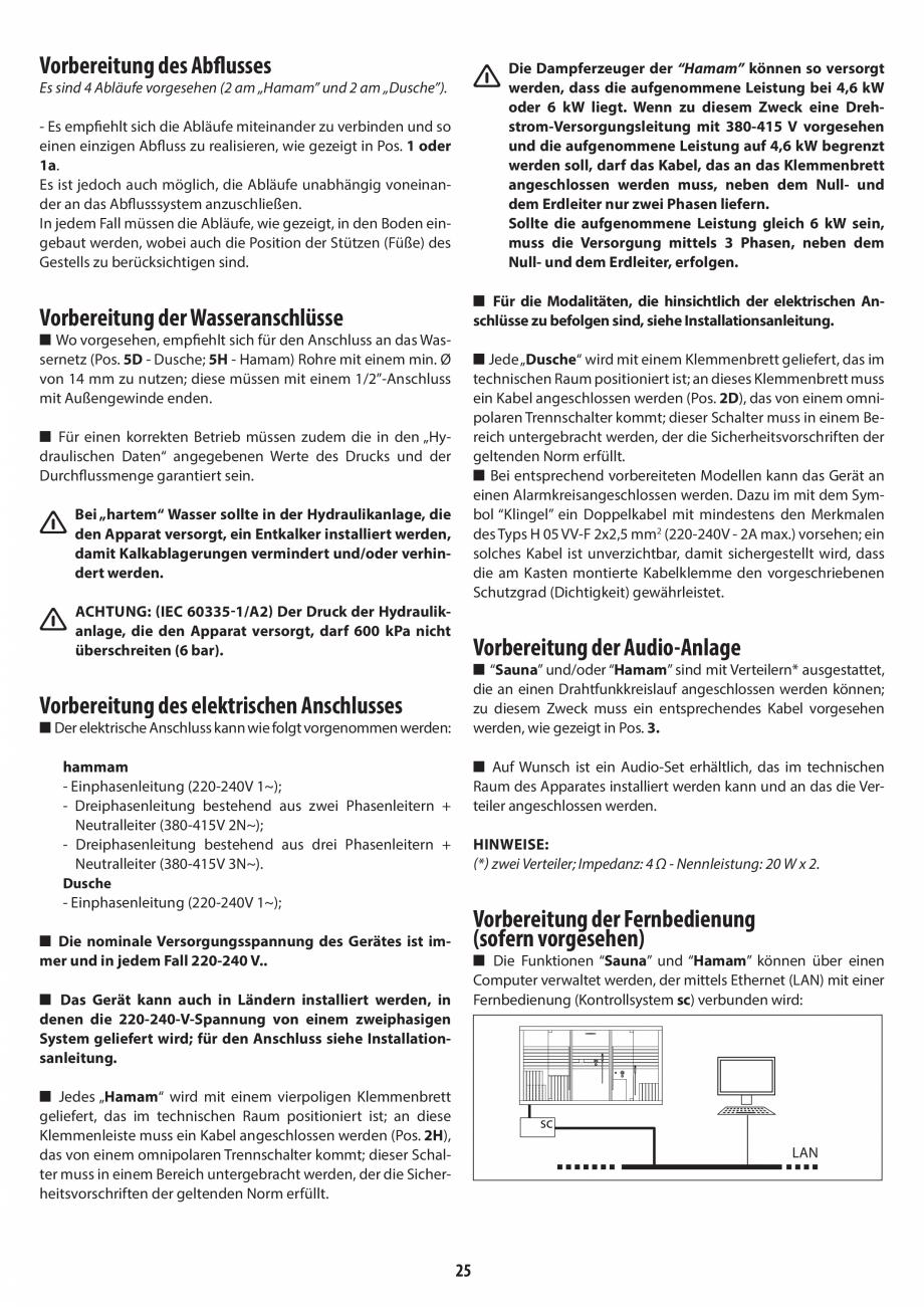 Pagina 25 - Instructiuni de preinstalare pentru hammam + dus JACUZZI SASHA, SASHA 2.0 Instructiuni...