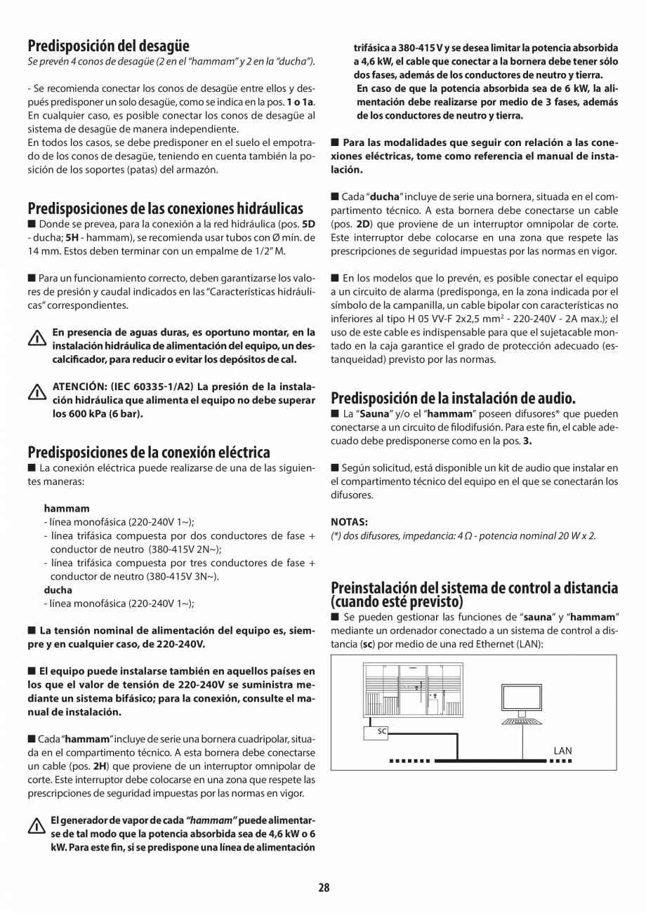 Pagina 28 - Instructiuni de preinstalare pentru hammam + dus JACUZZI SASHA, SASHA 2.0 Instructiuni...
