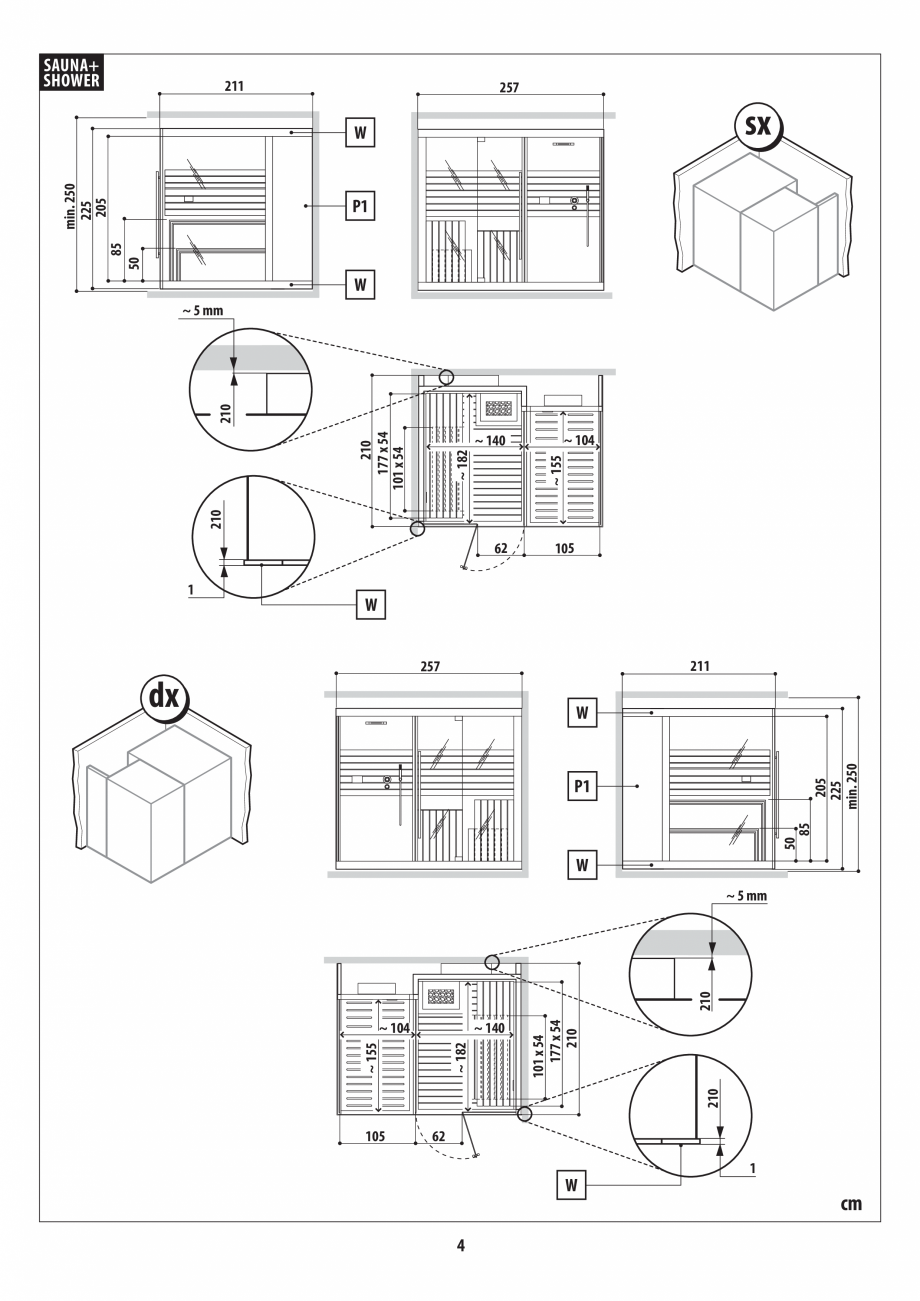 Pagina 4 - Instructiuni de preinstalare pentru sauna + dus JACUZZI SASHA, SASHA 2.0 Instructiuni...