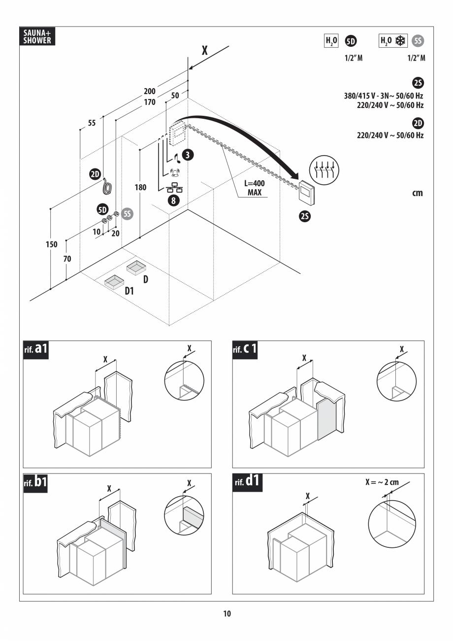 Pagina 10 - Instructiuni de preinstalare pentru sauna + dus JACUZZI SASHA, SASHA 2.0 Instructiuni...
