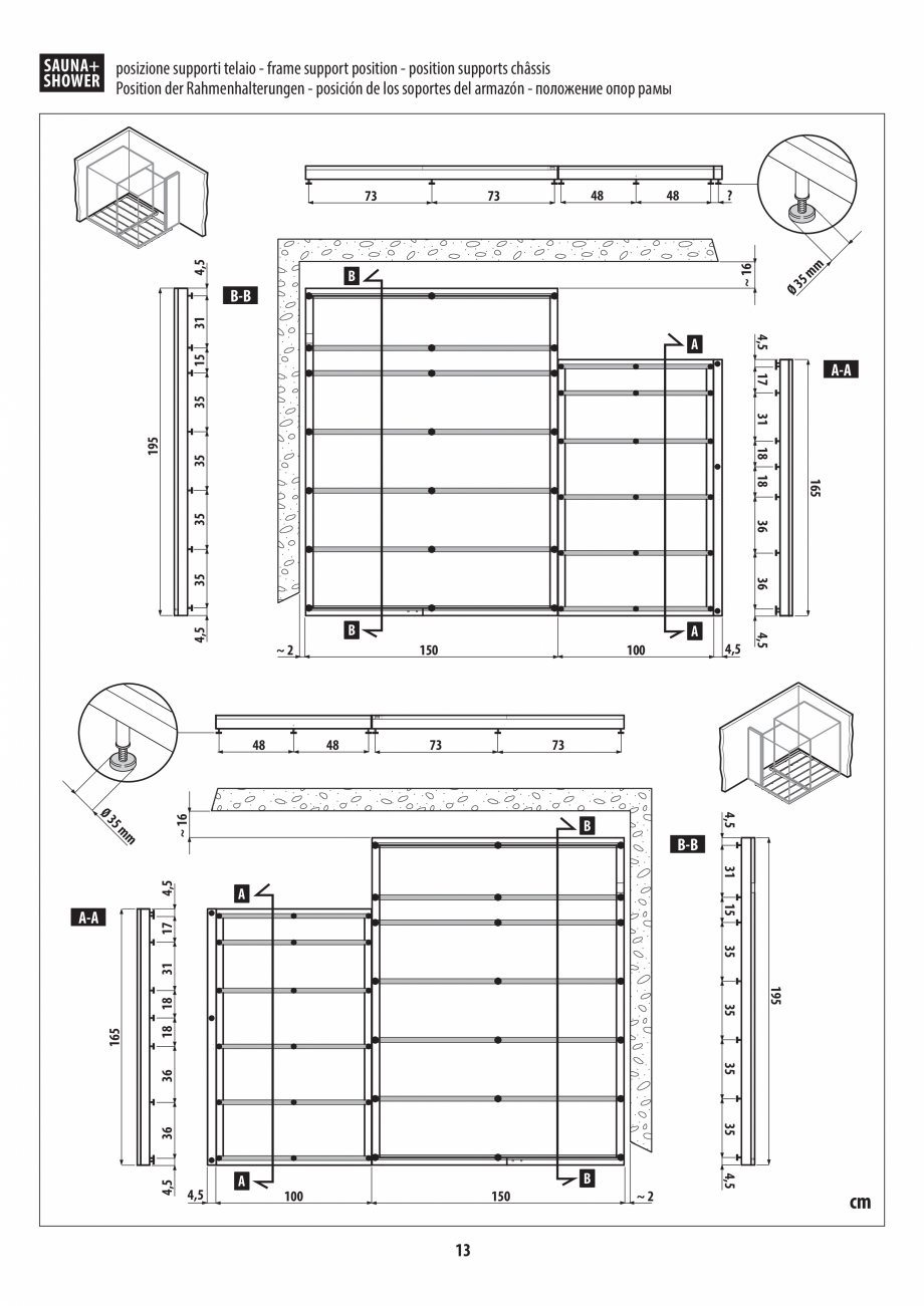 Pagina 13 - Instructiuni de preinstalare pentru sauna + dus JACUZZI SASHA, SASHA 2.0 Instructiuni...