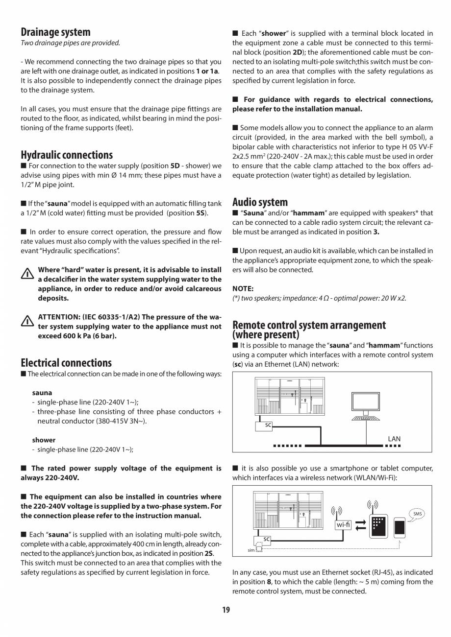 Pagina 19 - Instructiuni de preinstalare pentru sauna + dus JACUZZI SASHA, SASHA 2.0 Instructiuni...