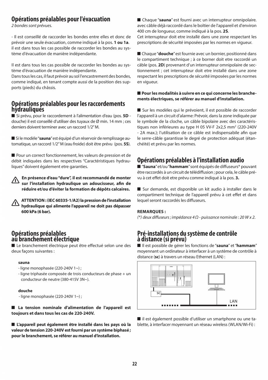 Pagina 22 - Instructiuni de preinstalare pentru sauna + dus JACUZZI SASHA, SASHA 2.0 Instructiuni...