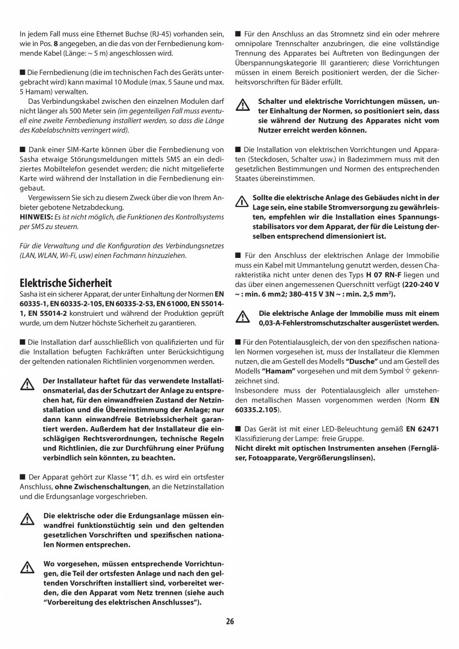 Pagina 26 - Instructiuni de preinstalare pentru sauna + dus JACUZZI SASHA, SASHA 2.0 Instructiuni...