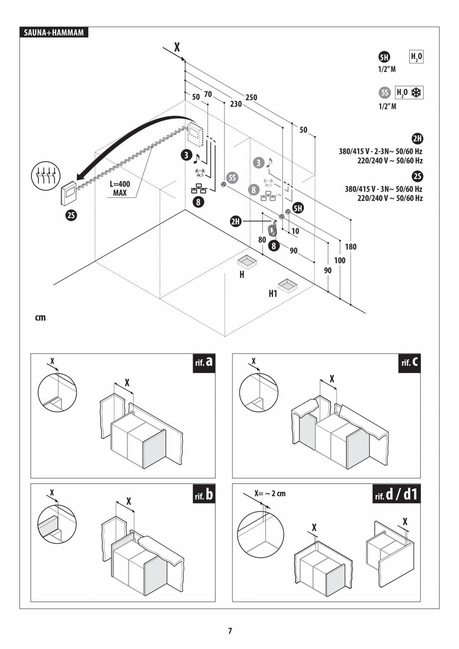 Pagina 7 - Instructiuni de preinstalare pentru sauna + hammam JACUZZI SASHA, SASHA 2.0 Instructiuni ...