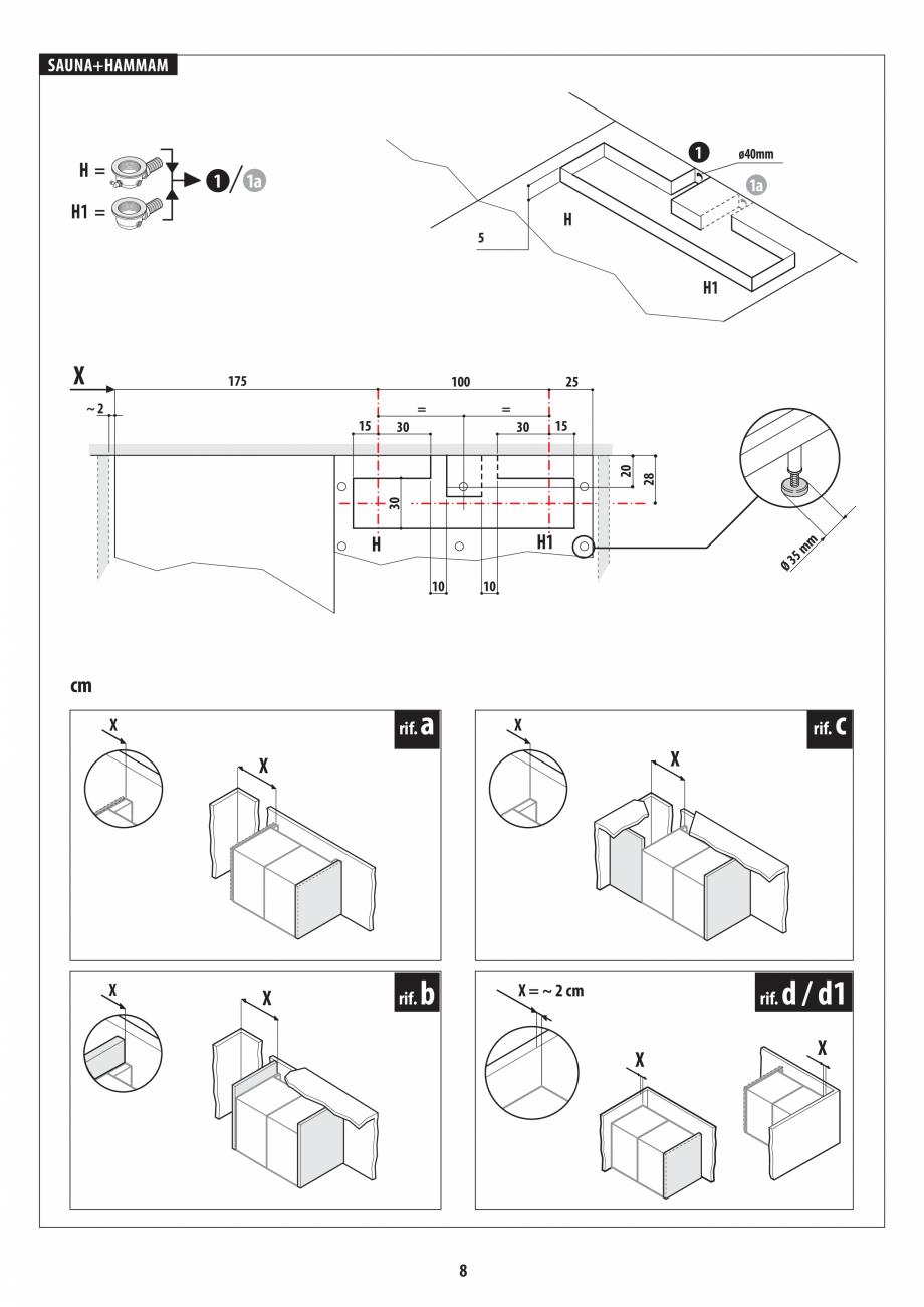 Pagina 8 - Instructiuni de preinstalare pentru sauna + hammam JACUZZI SASHA, SASHA 2.0 Instructiuni ...