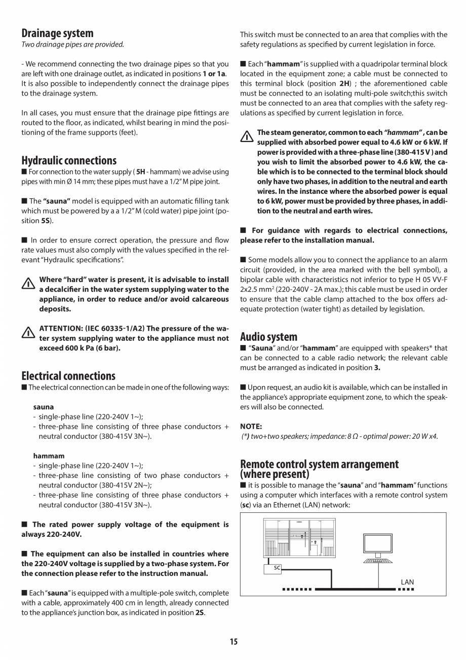 Pagina 15 - Instructiuni de preinstalare pentru sauna + hammam JACUZZI SASHA, SASHA 2.0 Instructiuni...