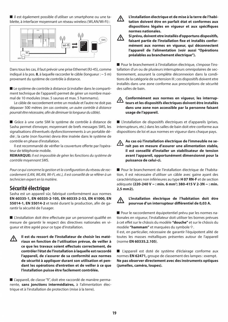 Pagina 19 - Instructiuni de preinstalare pentru sauna + hammam JACUZZI SASHA, SASHA 2.0 Instructiuni...