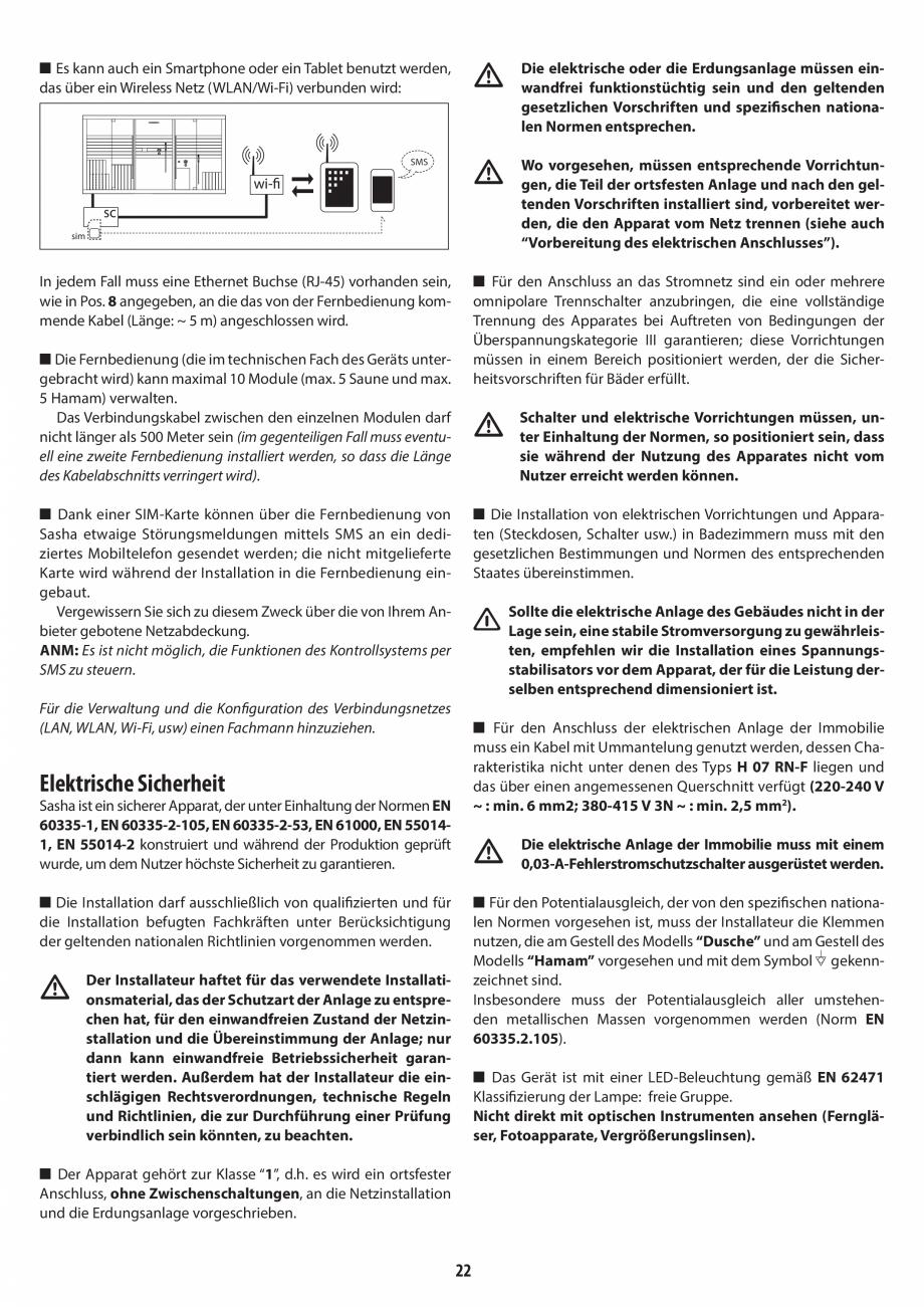 Pagina 22 - Instructiuni de preinstalare pentru sauna + hammam JACUZZI SASHA, SASHA 2.0 Instructiuni...