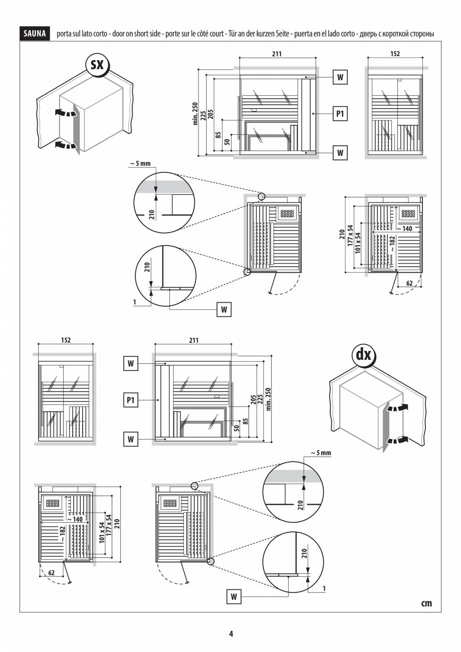 Pagina 4 - Instructiuni de preinstalare pentru sauna JACUZZI SASHA, SASHA 2.0 Instructiuni montaj,...