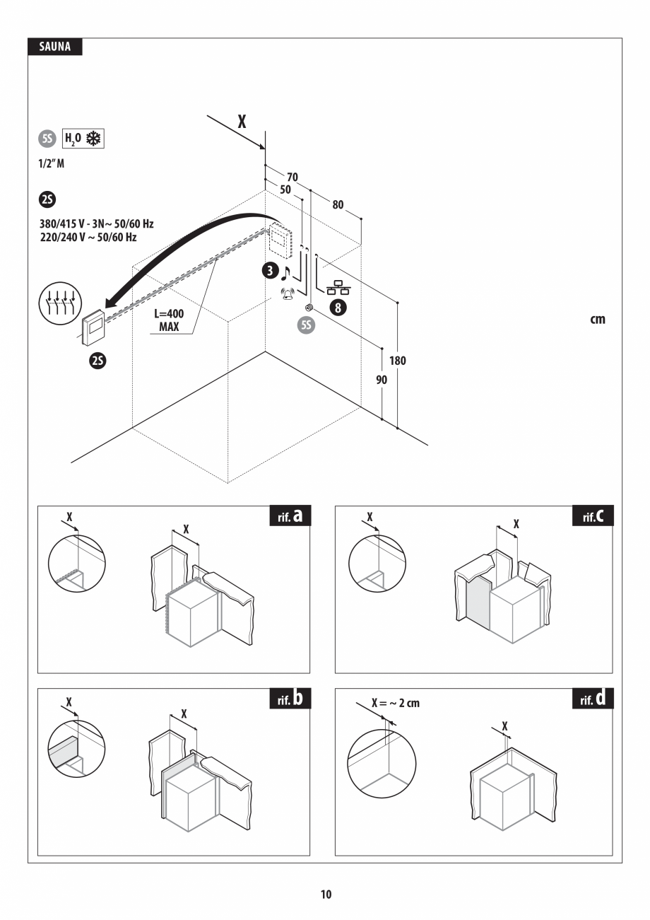 Pagina 10 - Instructiuni de preinstalare pentru sauna JACUZZI SASHA, SASHA 2.0 Instructiuni montaj, ...