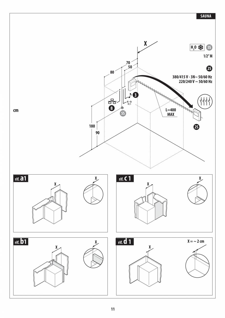 Pagina 11 - Instructiuni de preinstalare pentru sauna JACUZZI SASHA, SASHA 2.0 Instructiuni montaj, ...