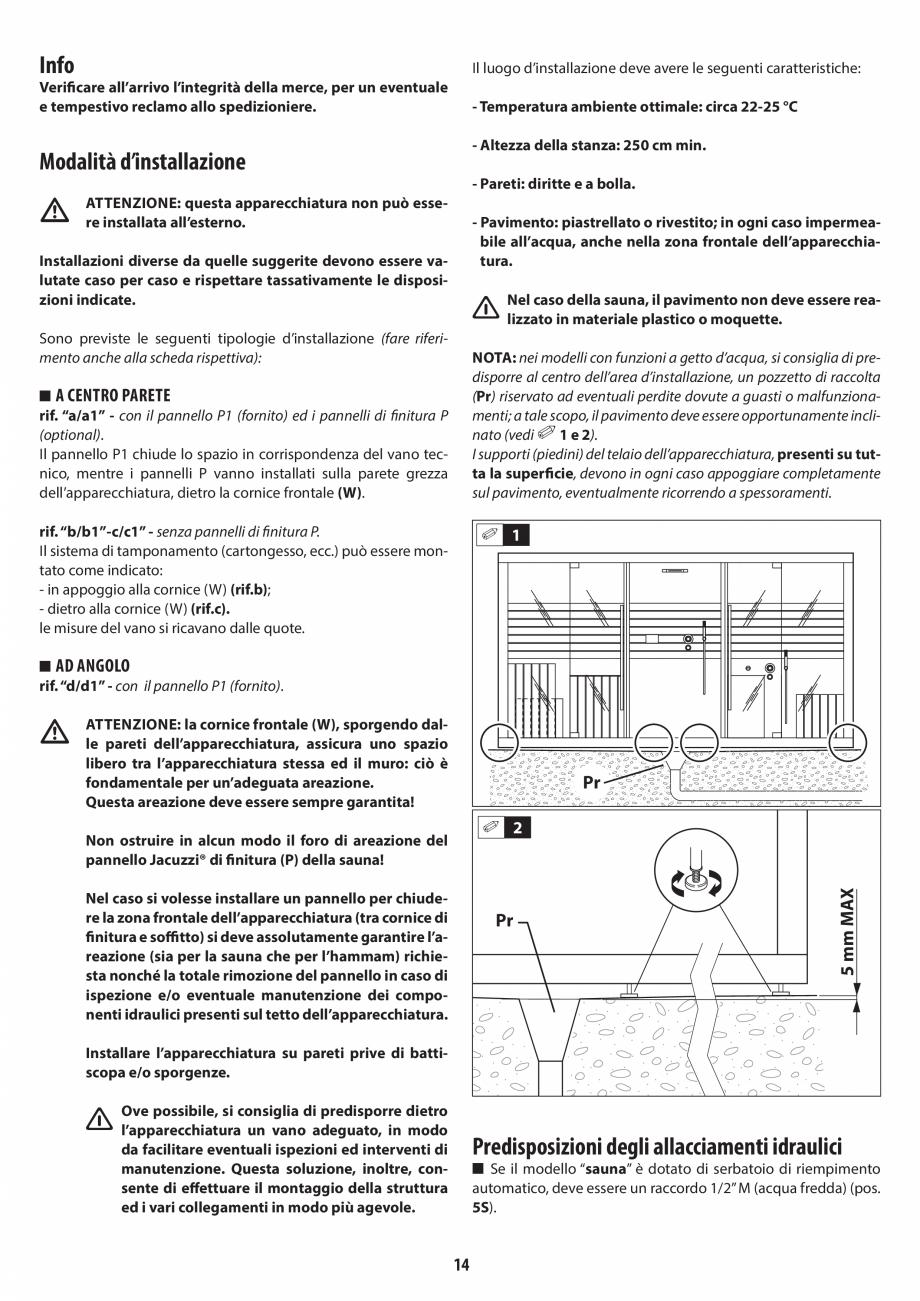 Pagina 14 - Instructiuni de preinstalare pentru sauna JACUZZI SASHA, SASHA 2.0 Instructiuni montaj, ...