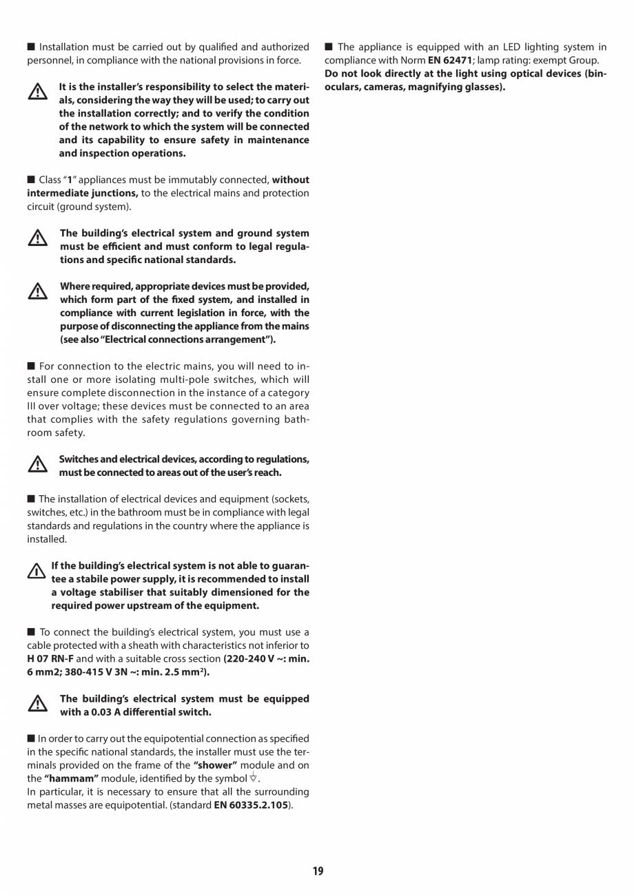 Pagina 19 - Instructiuni de preinstalare pentru sauna JACUZZI SASHA, SASHA 2.0 Instructiuni montaj, ...