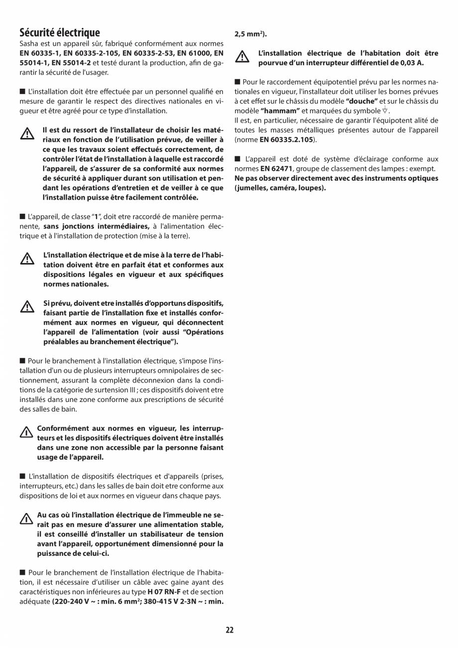 Pagina 22 - Instructiuni de preinstalare pentru sauna JACUZZI SASHA, SASHA 2.0 Instructiuni montaj, ...
