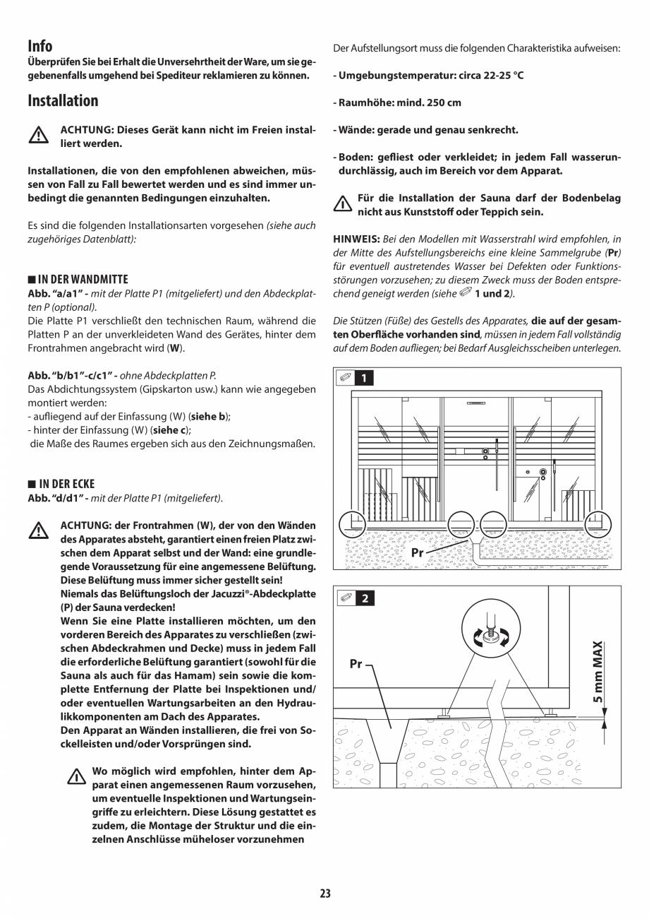 Pagina 23 - Instructiuni de preinstalare pentru sauna JACUZZI SASHA, SASHA 2.0 Instructiuni montaj, ...