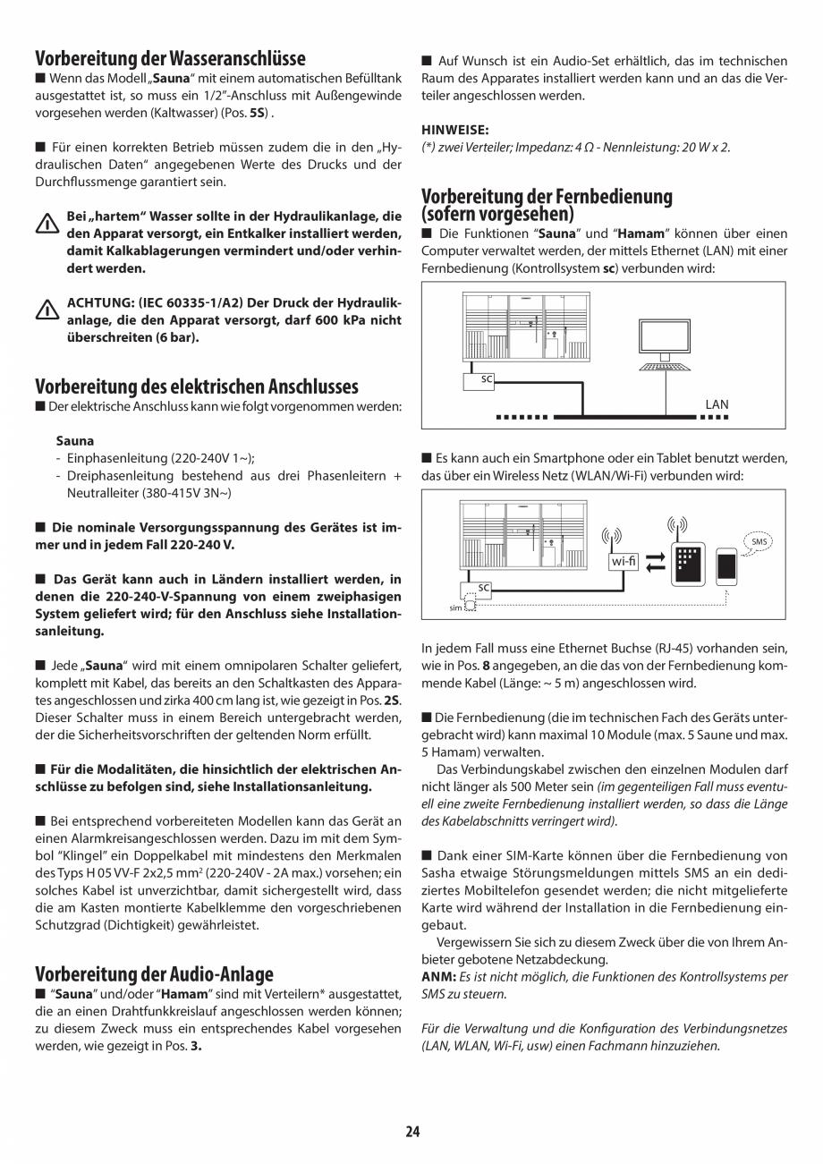 Pagina 24 - Instructiuni de preinstalare pentru sauna JACUZZI SASHA, SASHA 2.0 Instructiuni montaj, ...