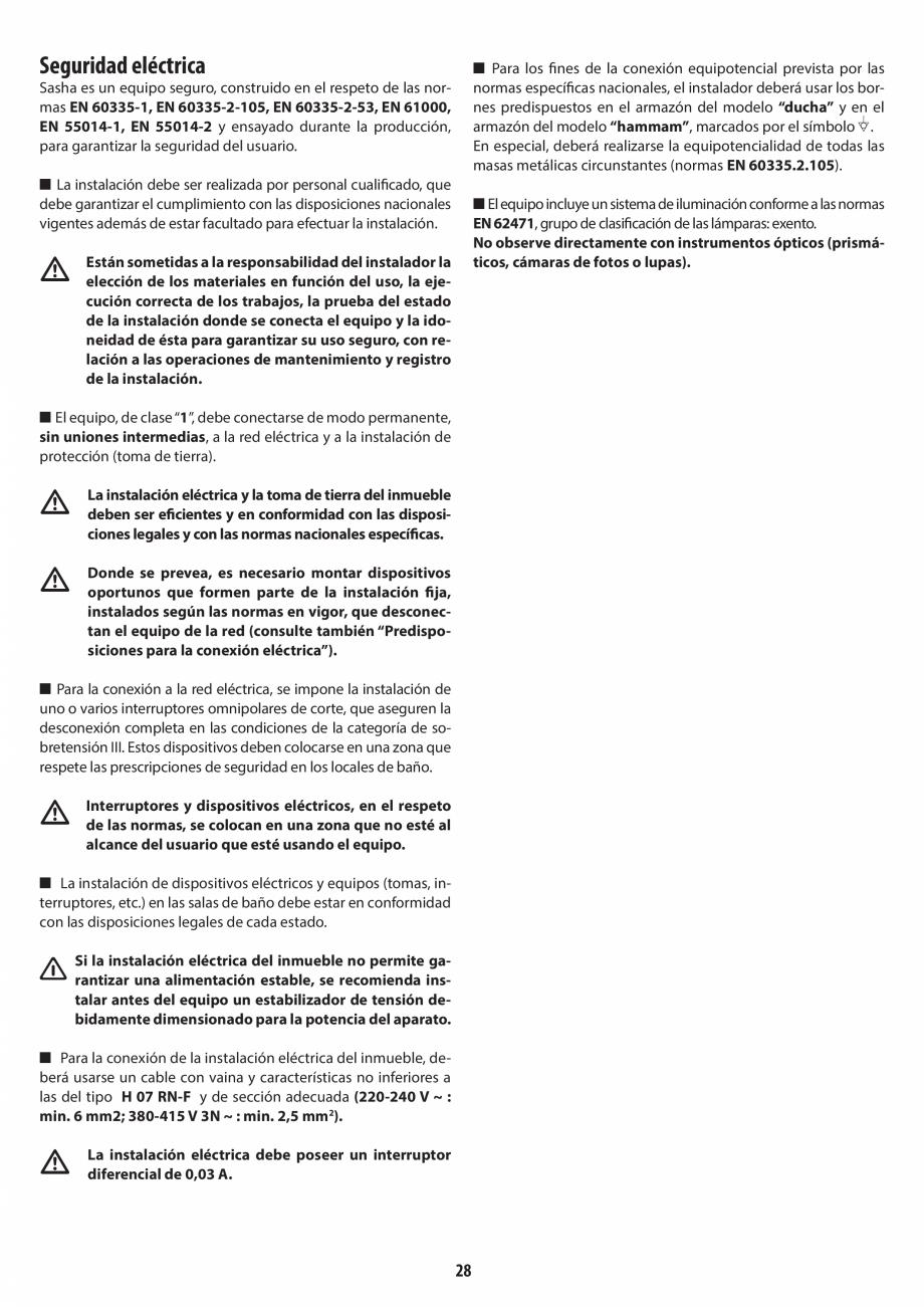 Pagina 28 - Instructiuni de preinstalare pentru sauna JACUZZI SASHA, SASHA 2.0 Instructiuni montaj, ...