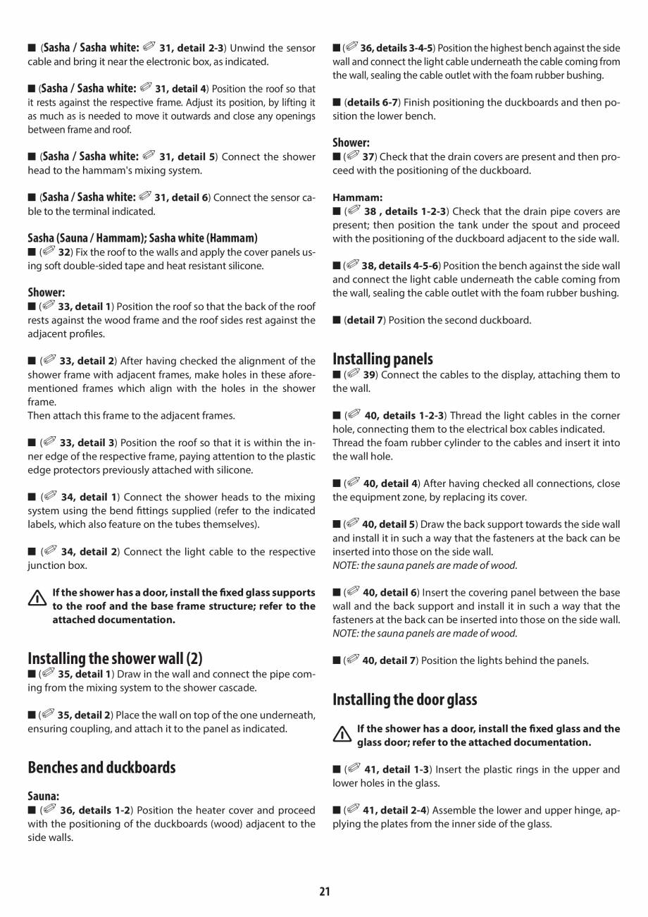 Pagina 21 - Manual de instalare pentru sauna + dus + hammam /sauna+ dus + sauna /hammam + dus +...